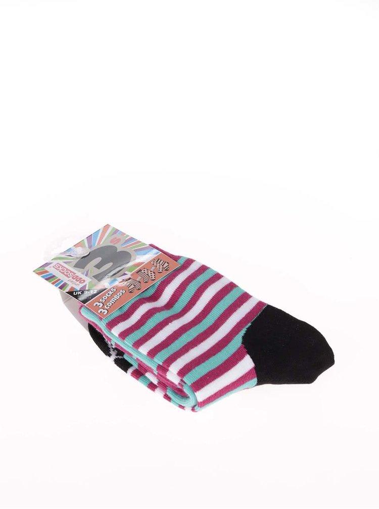 Sada tří modro-vínových holčičích ponožek Oddsocks Ditsy