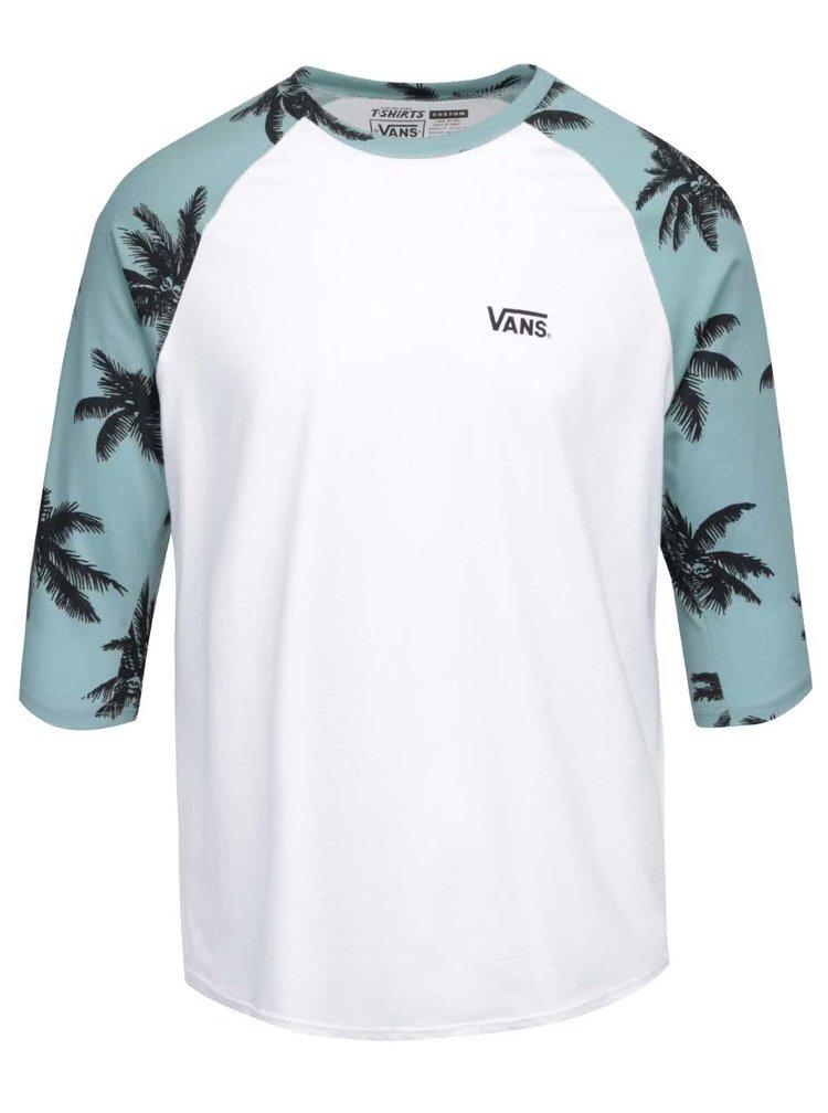 Zeleno-biele pánske tričko s 3/4 rukávmi a potlačou paliem Vans Raglan