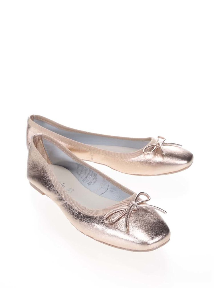 Balerini Tamaris roz-auriu din piele