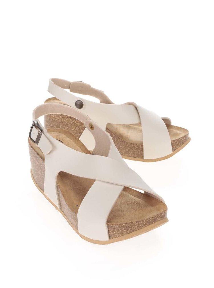 Krémové dámske sandále na platforme s remienkom do kríža OJJU