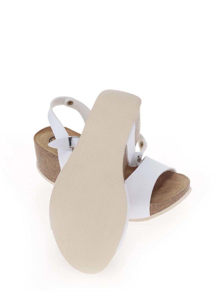 Biele dámske sandále na platforme OJJU