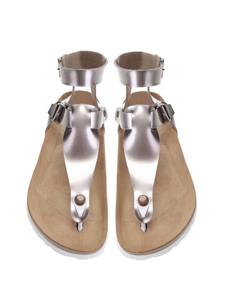Fialovosivé lesklé dámske sandále OJJU