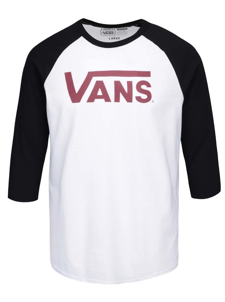 Černo-bílé pánské triko s 3/4 rukávem a potiskem VANS Classic