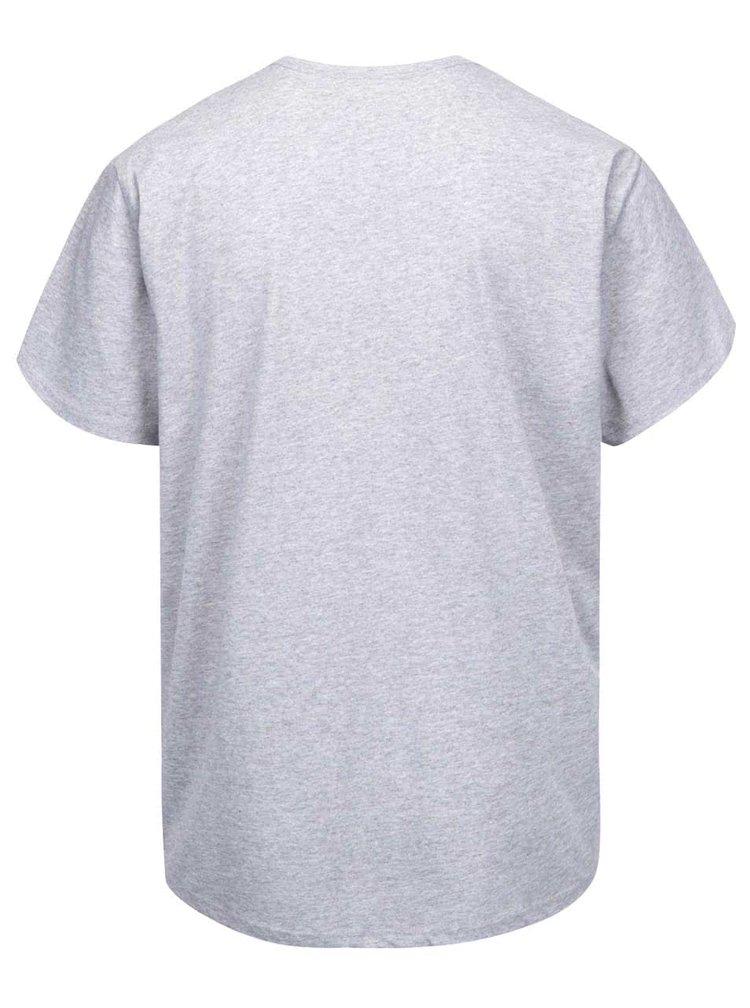 Šedé žíhané pánské triko s potiskem Vans Checker Blaster