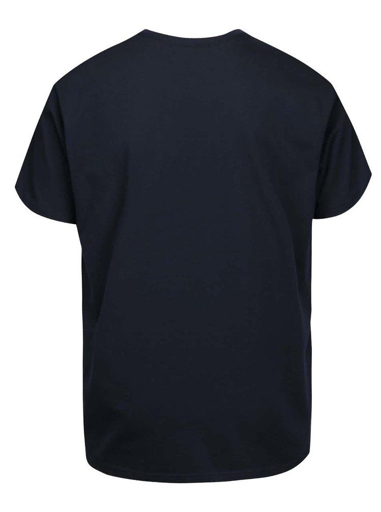 Tmavomodré pánske tričko s potlačou Vans Checker Blaster