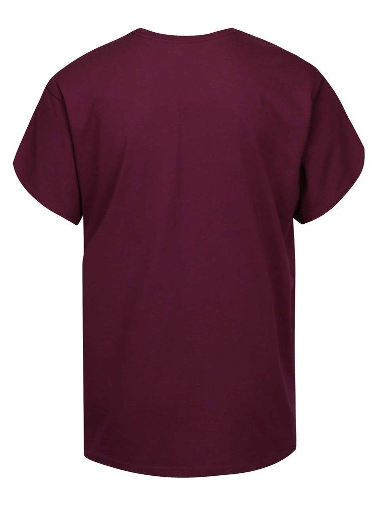 Vínové pánske tričko s potlačou Vans Stenciled