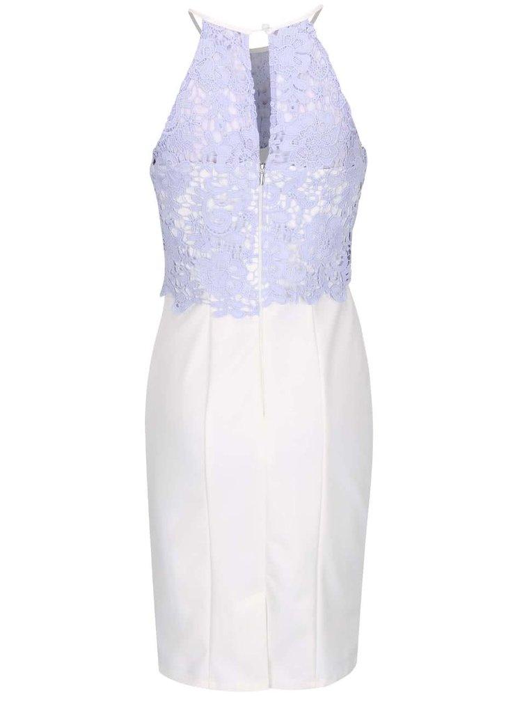 Krémové šaty s modrým krajkovaným topem Little Mistress