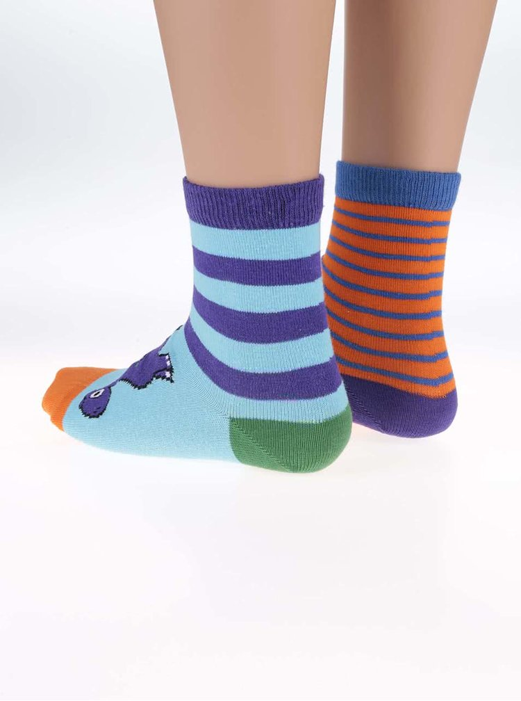 Sada tří dětských ponožek v oranžovo-modré barvě Oddsocks Dino