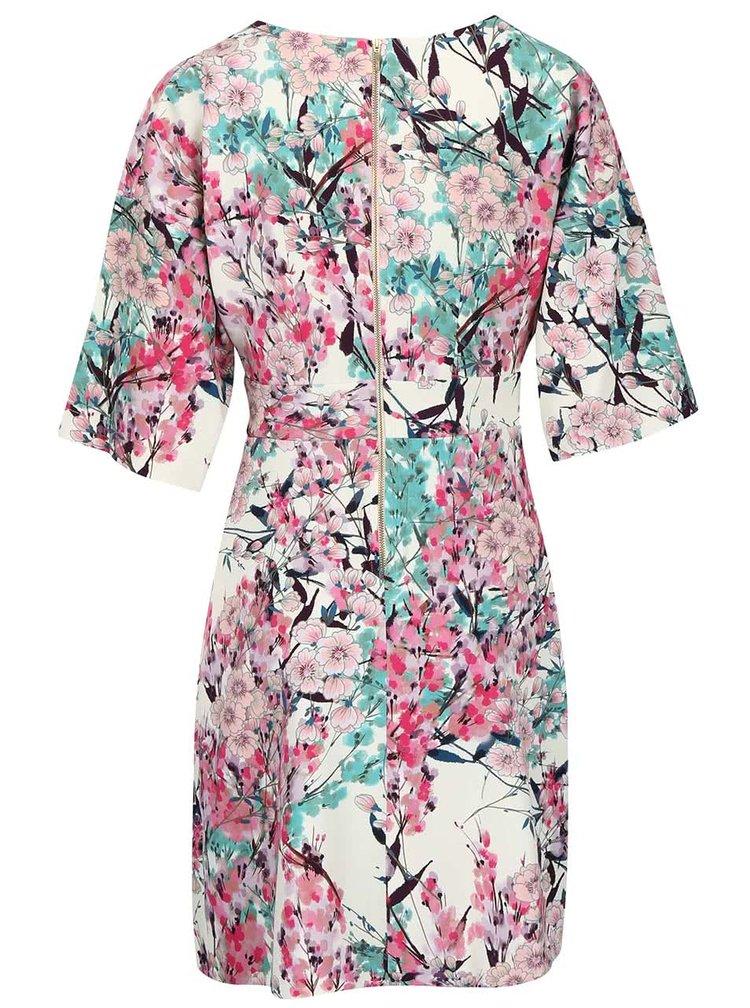 Krémové šaty so zeleno-ružovými kvetmi Closet