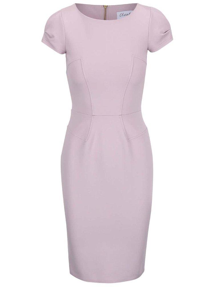 Světle fialové pouzdrové šaty Closet