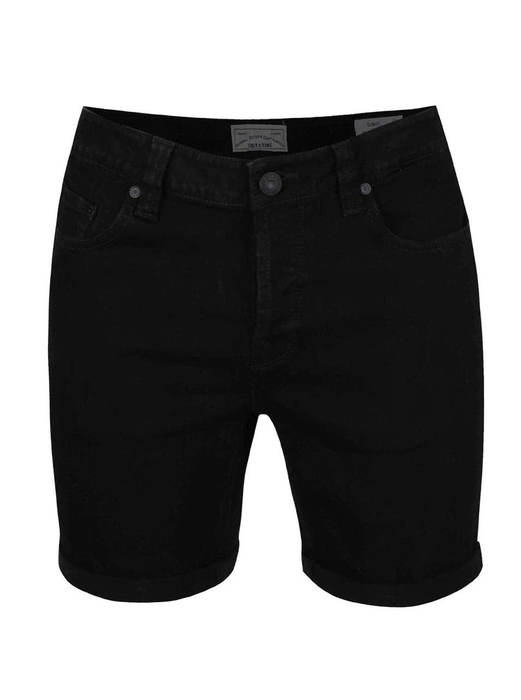Blugi scurți slim fit ONLY & SONS Loom negri