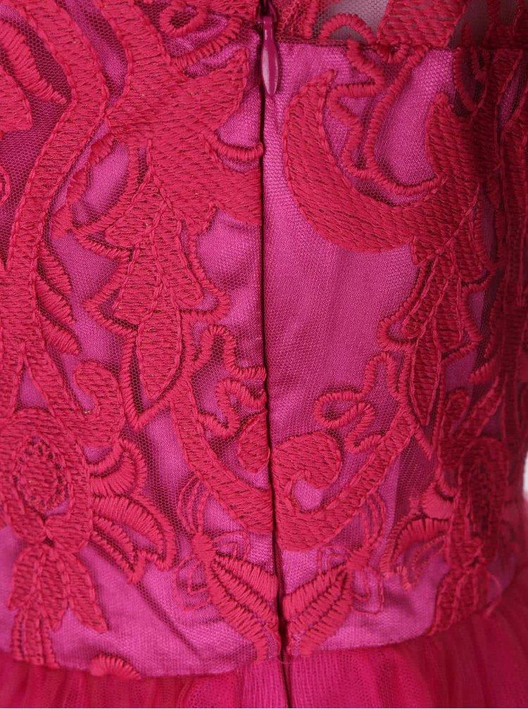 Ružové čipkované šaty Chi Chi London Suki