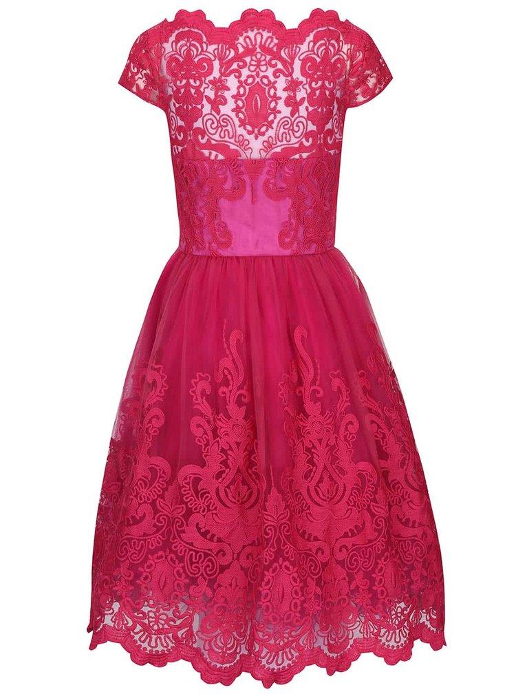 Rochie cu dantela Chi Chi London Suki roz