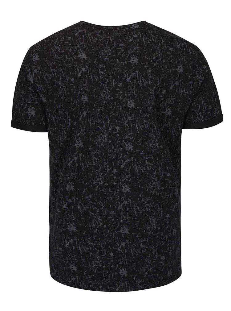 Čierne vzorované tričko so sivým vreckom Blend