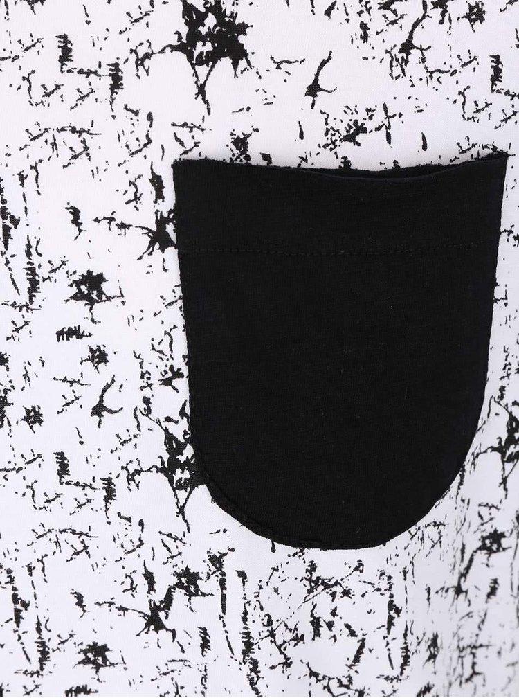 Bílé vzorované triko s černou kapsičkou Blend