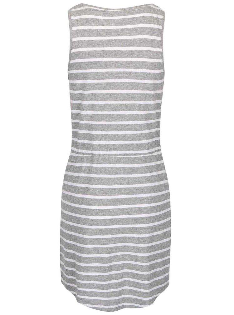 Světle šedé pruhované šaty se stažením v pase ONLY May