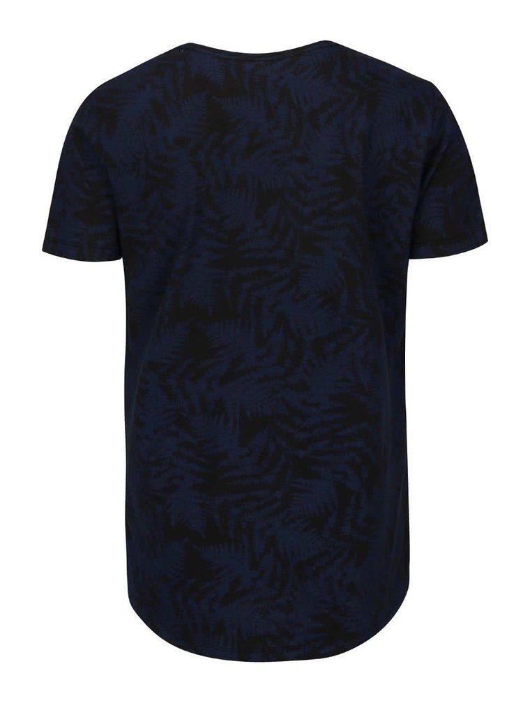 Tricou cu imprimeu Blend albastru-negru