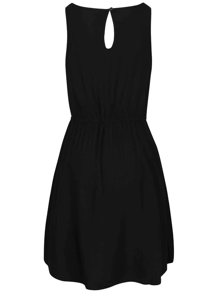 Čierne šaty stiahnuté v páse ONLY Geggo