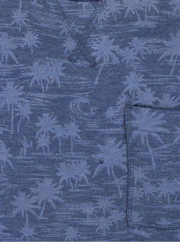 Modrá vzorovaná mikina bez kapuce Blend