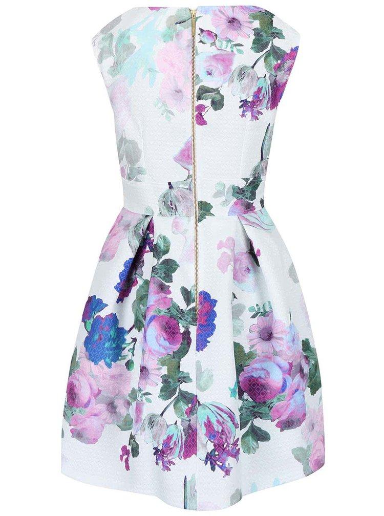 Bílé šaty s fialovými květy Closet