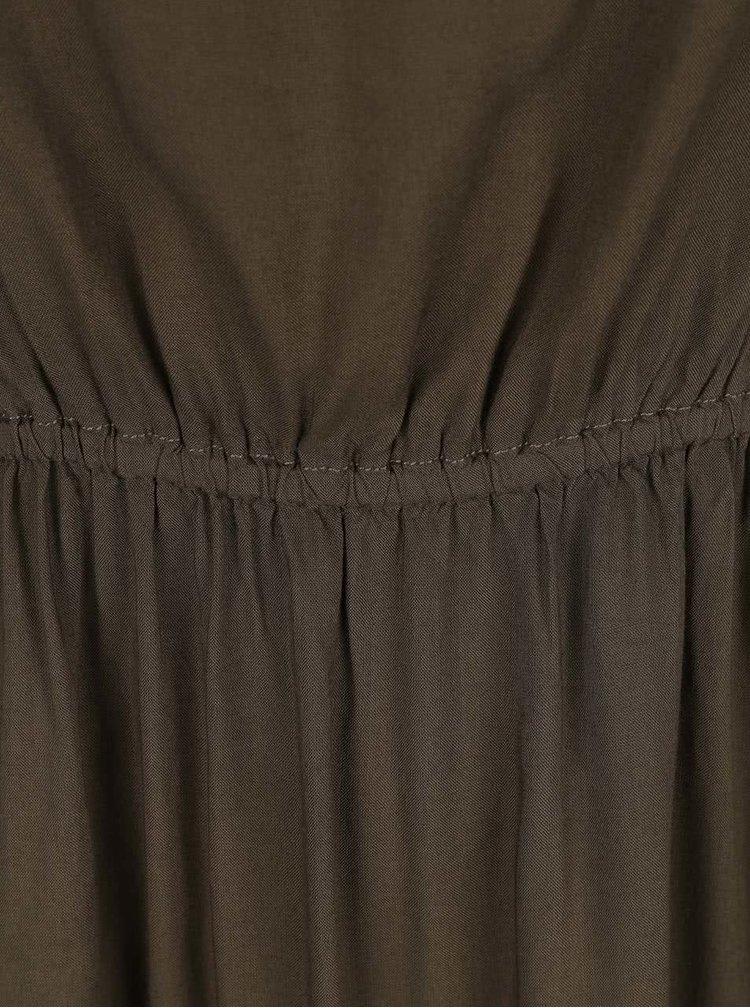 Kaki šaty stiahnuté v páse ONLY Geggo