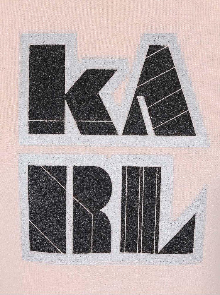 Meruňková kratší mikina s nápisem KARL LAGERFELD