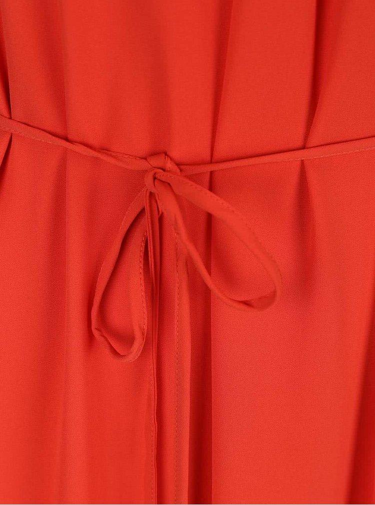 Červené maxišaty so šnúrkou v páse ONLY Toledo