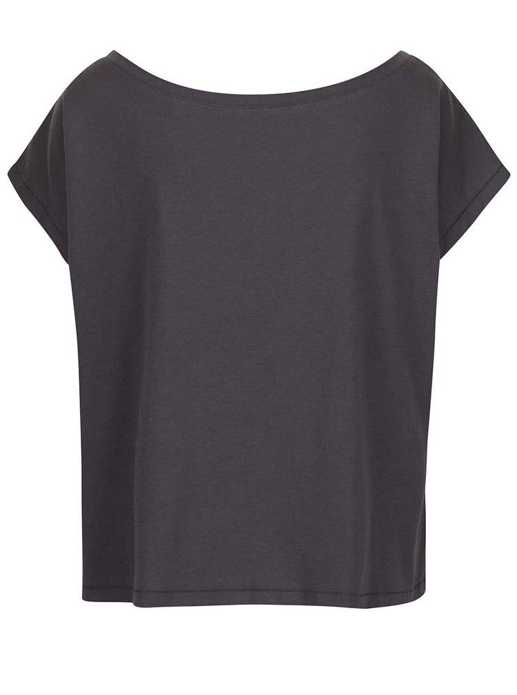 Šedé volnější krátké tričko s potiskem Alchymi Me