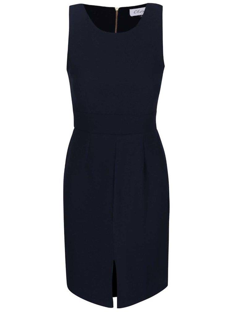 Tmavě modré šaty s mašlí Closet