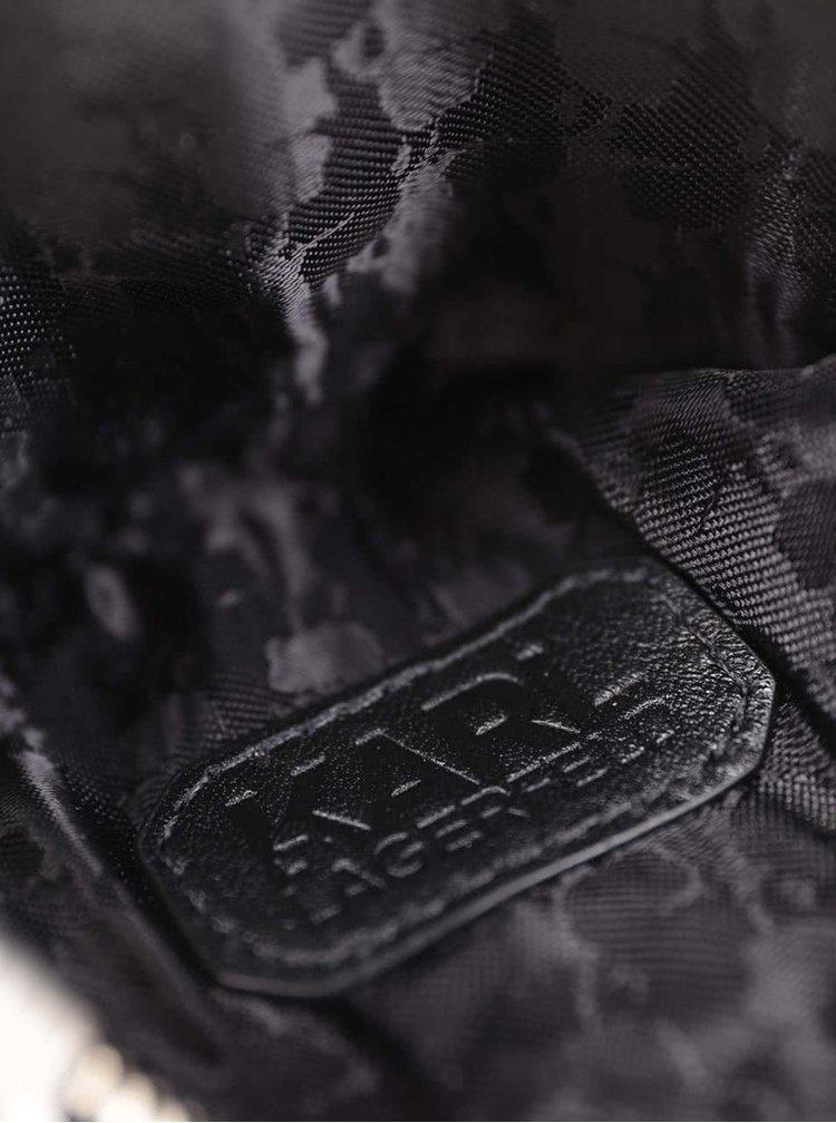 Čierna kožená prešívaná peňaženka na drobné v tvare mačky KARL LAGERFELD