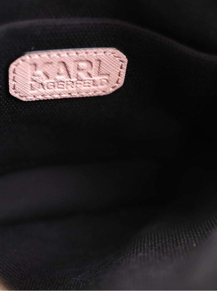 Starorůžové kožené psaníčko na zip KARL LAGERFELD