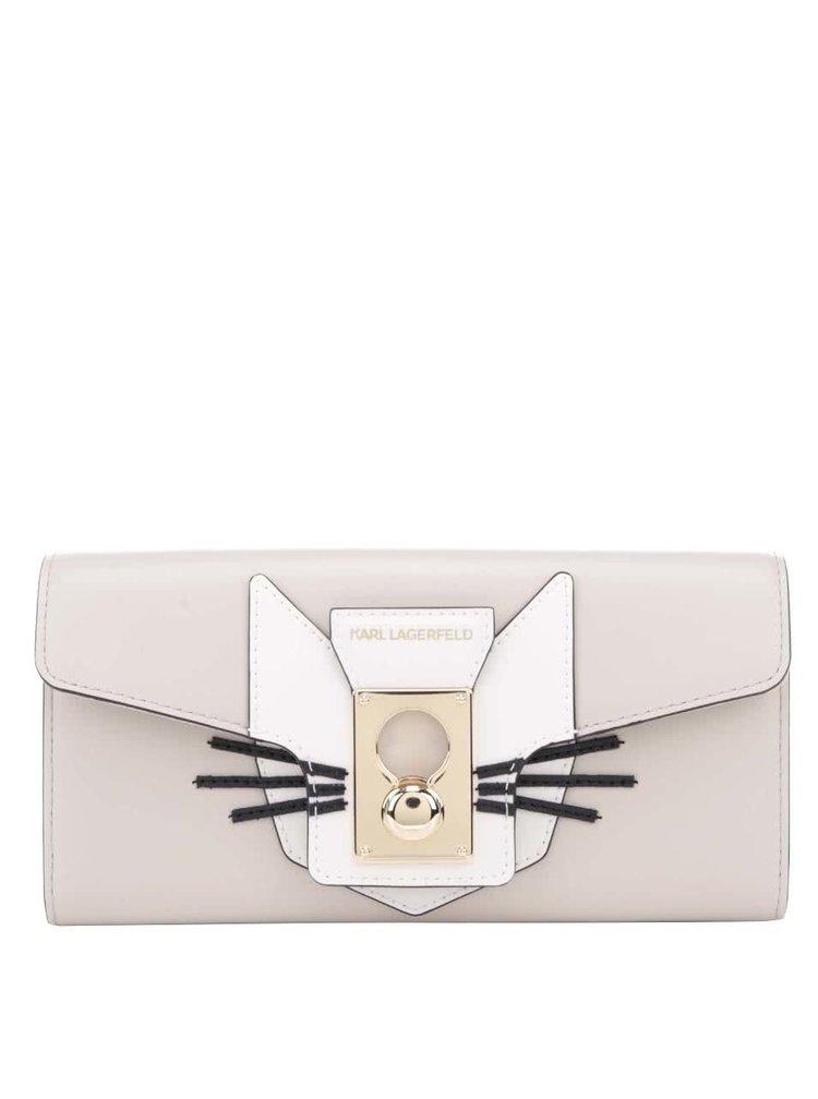 Šedobéžová kožená peněženka s aplikací kočky KARL LAGERFELD