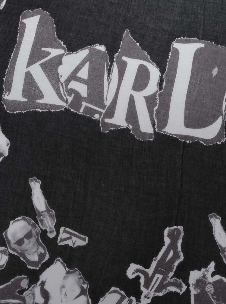 Hnědo-černá šála s motivem KARL LAGERFELD