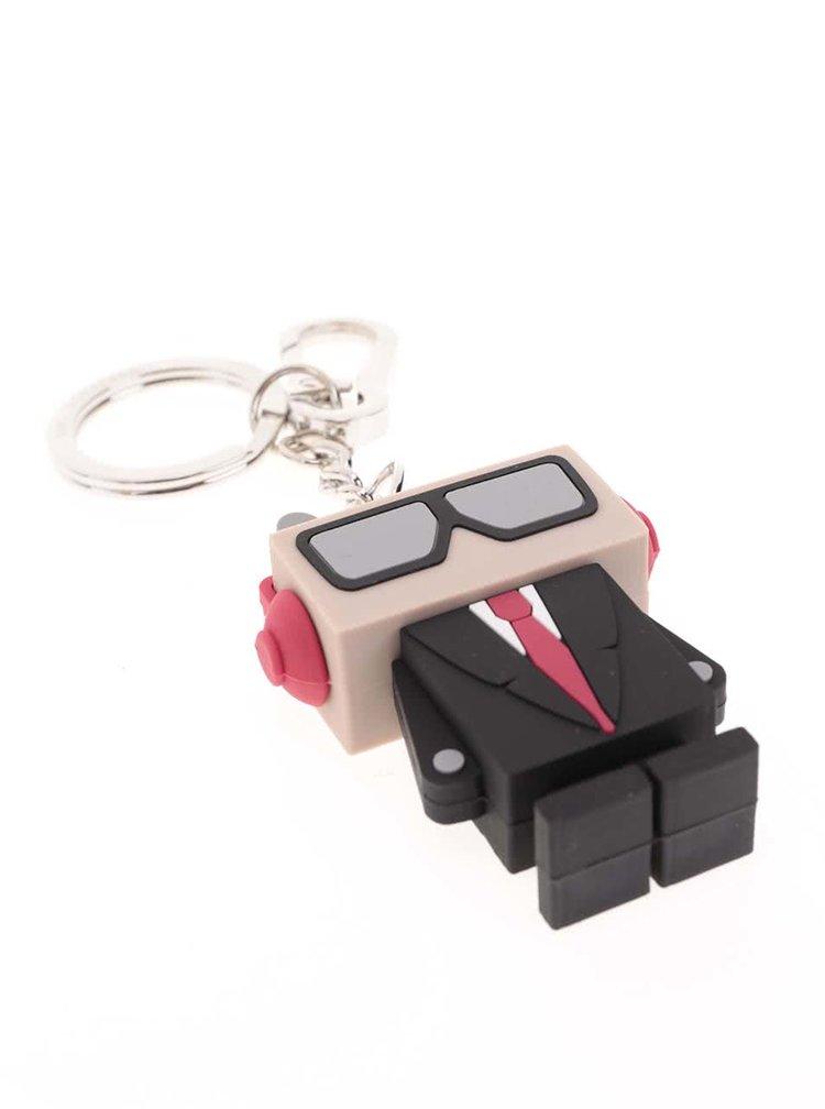 Béžovo-černý přívěsek robot KARL LAGERFELD
