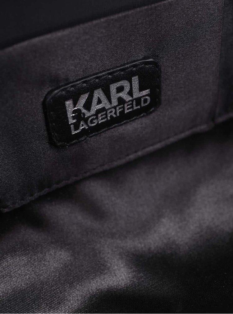 Čierna trblietavá crossbody/listová kabelka s motívom robota KARL LAGERFELD