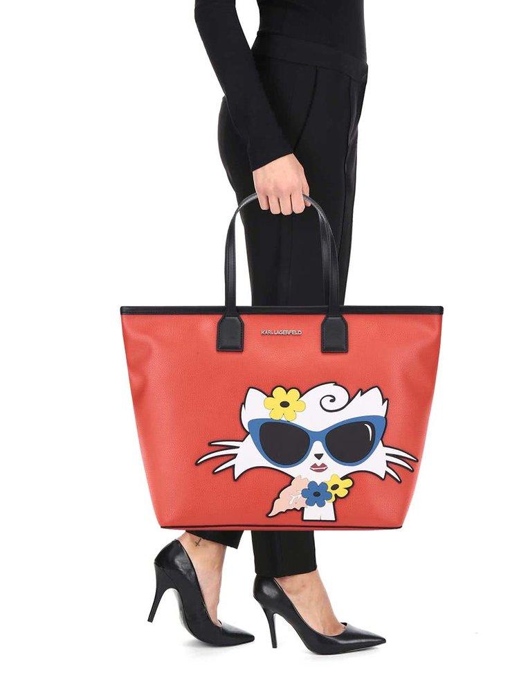 Červený shopper s motívom mačky KARL LAGERFELD