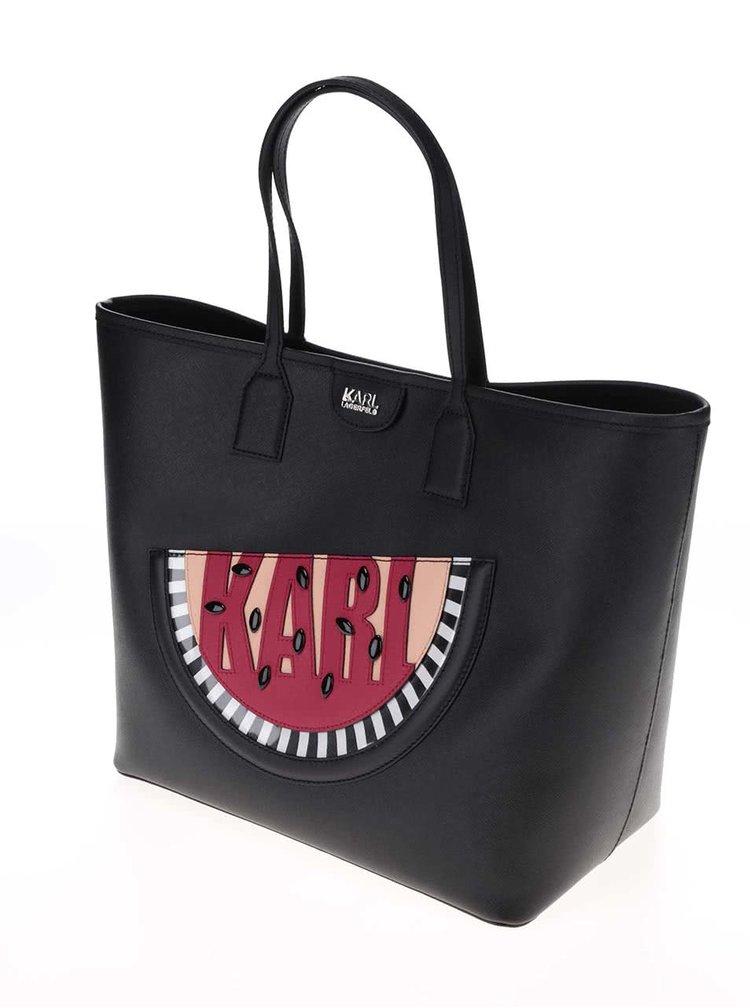 Černý shopper s melounem KARL LAGERFELD