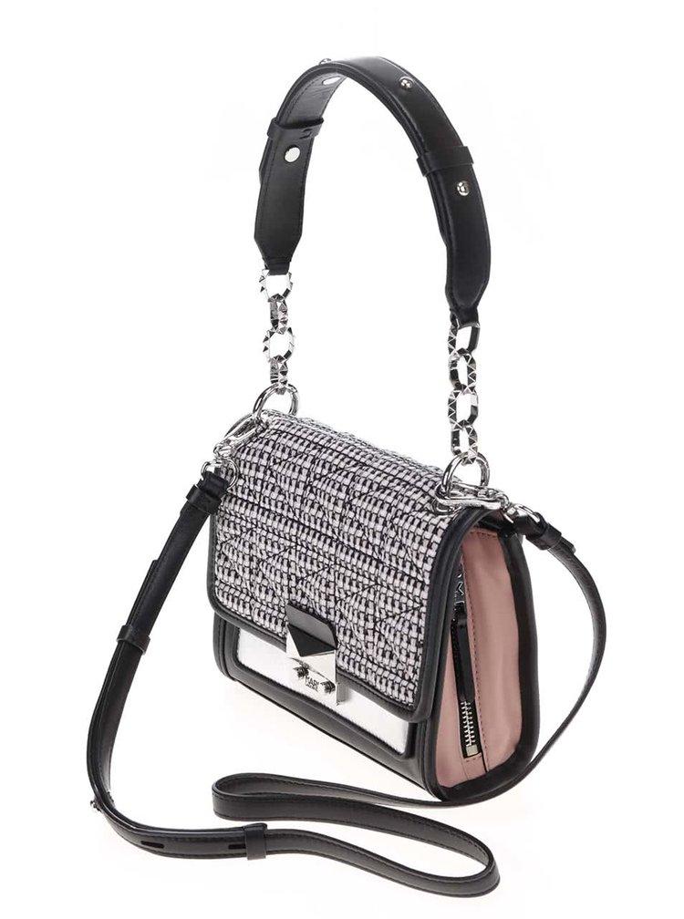 Ružovo-čierna kožená kabelka s tvídovou chlopňou KARL LAGERFELD