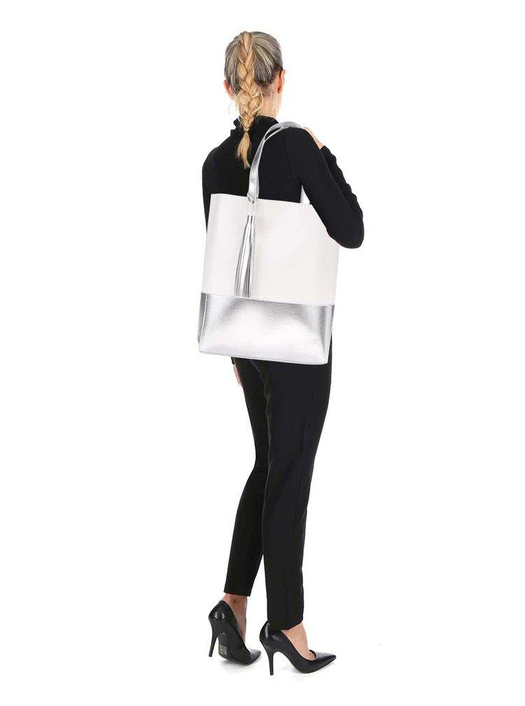 Biely shopper s detailmi v striebornej farbe Clarks Moroccan Gem