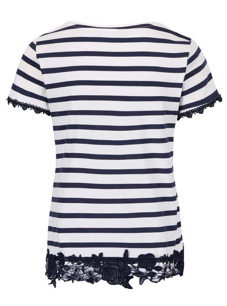 Modro-krémové pruhované tričko s krajkovanými lemy Dorothy Perkins