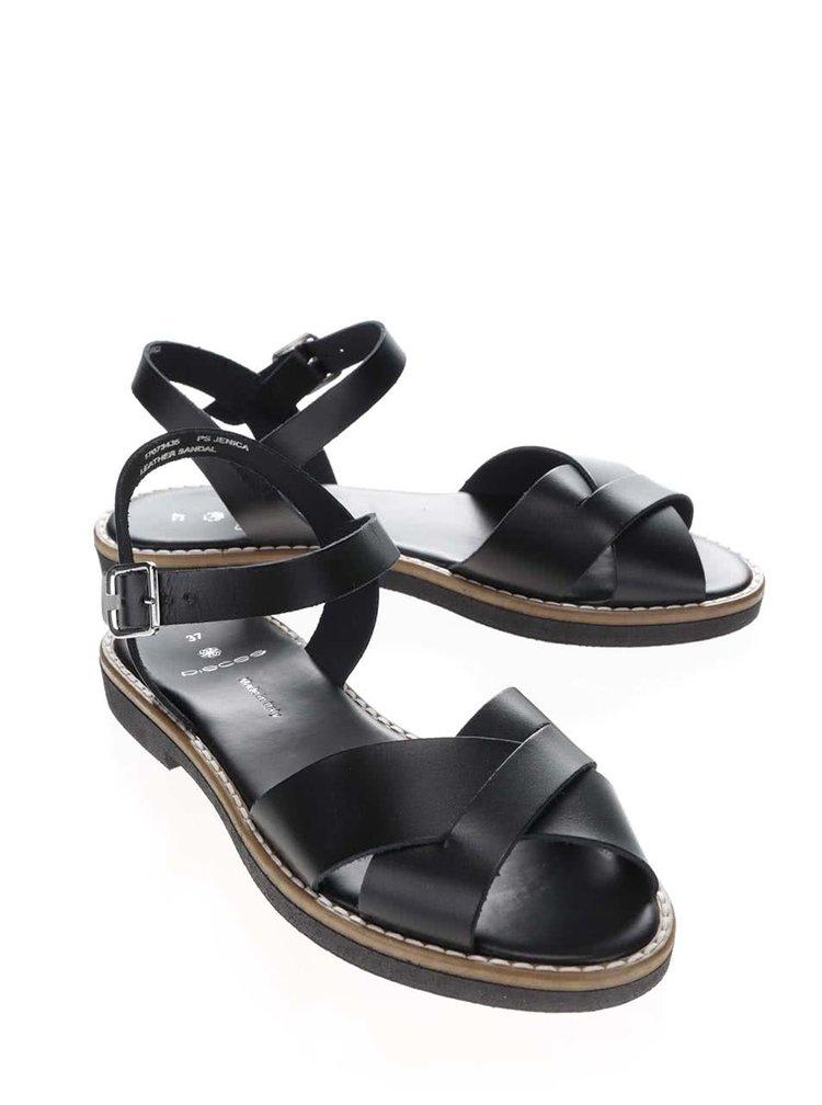 Černé kožené páskové sandály Pieces Jenica
