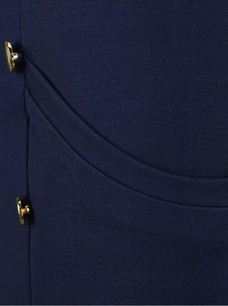 Modrá sukňa s gombíkmi v zlatej farbe VERO MODA Sofia