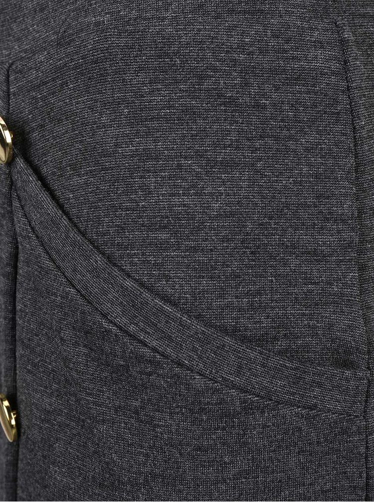Tmavosivá sukňa s gombíkmi v zlatej farbe VERO MODA Sofia
