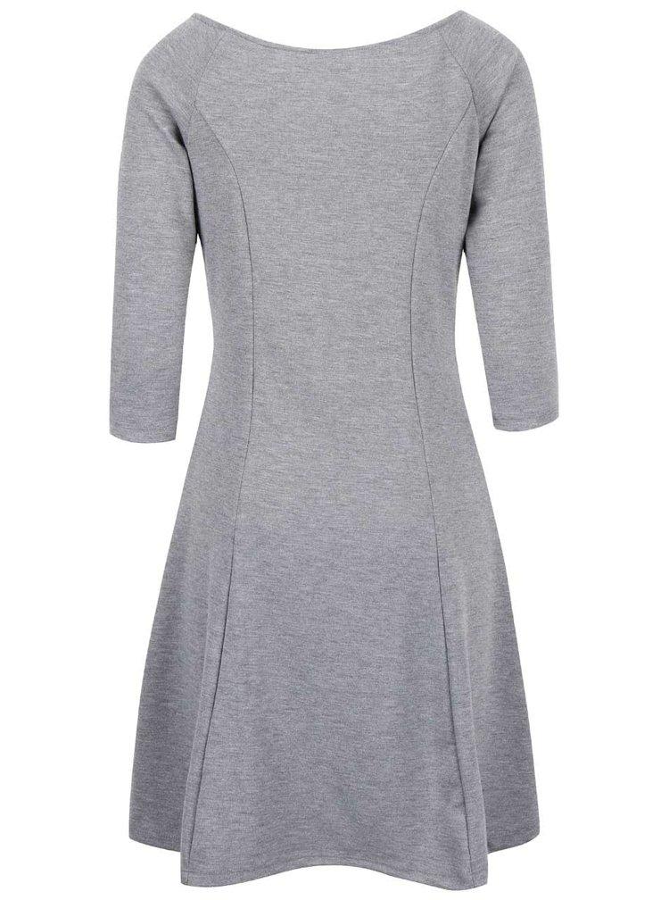 Sivé šaty s 3/4 rukávmi VERO MODA Kari