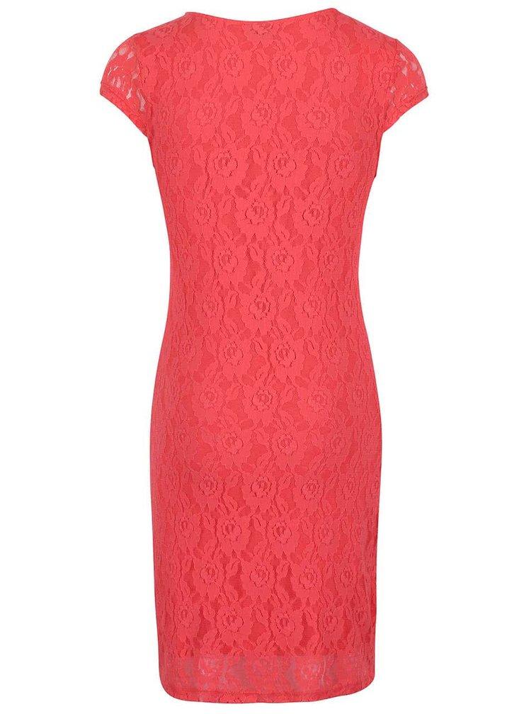 Ružové čipkované šaty s krátkymi rukávmi VERO MODA Lylli