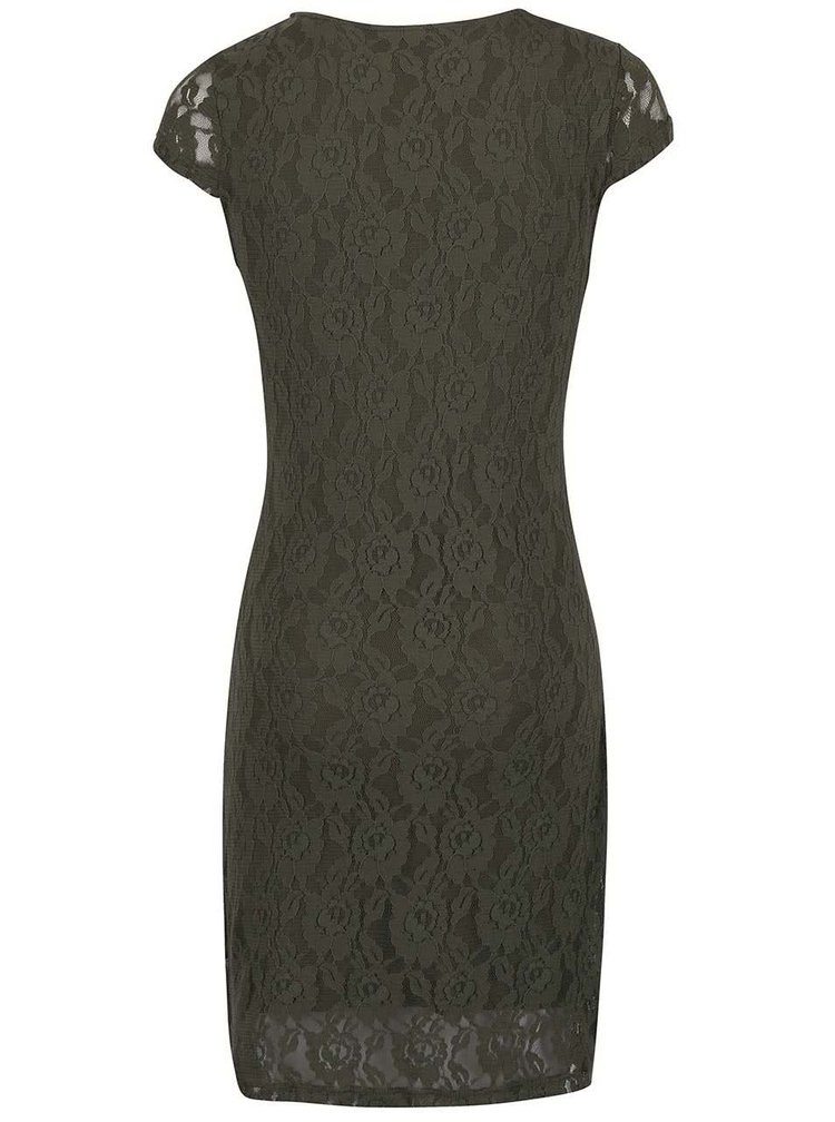 Kaki čipkované šaty s krátkymi rukávmi VERO MODA Lilly