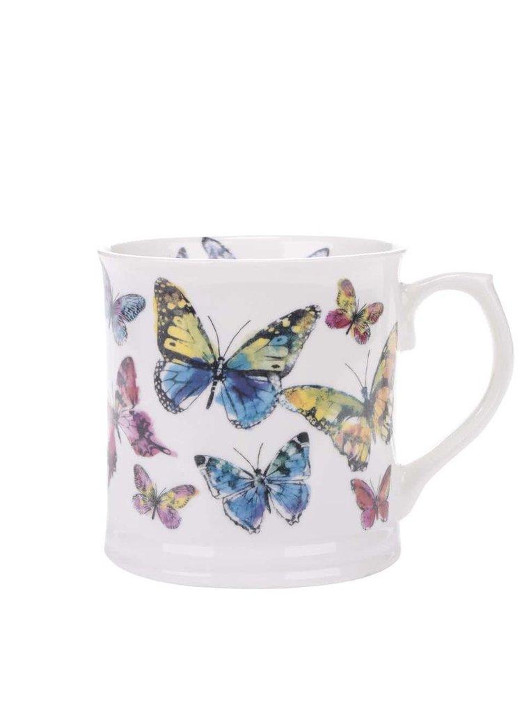 Biely porcelánový hrnček s motívom motýľov Cooksmart Butterfly
