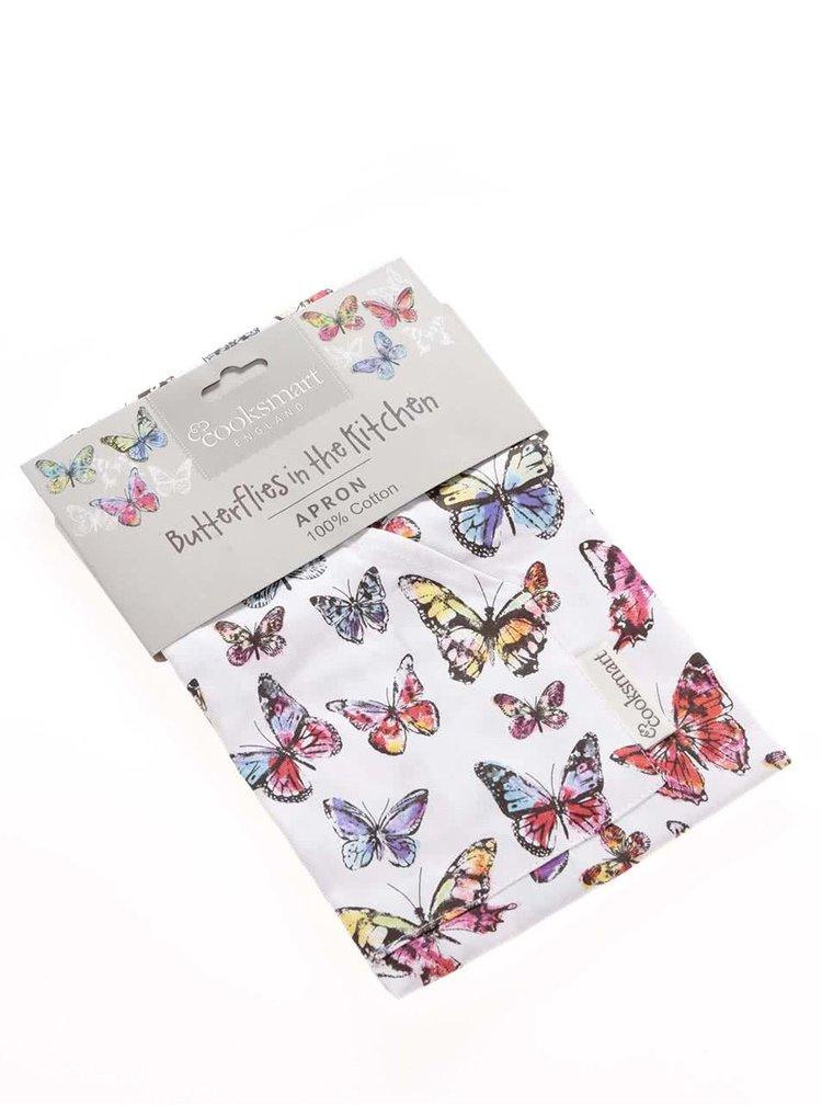 Șorț Cooksmart Butterfly alb cu imprimeu