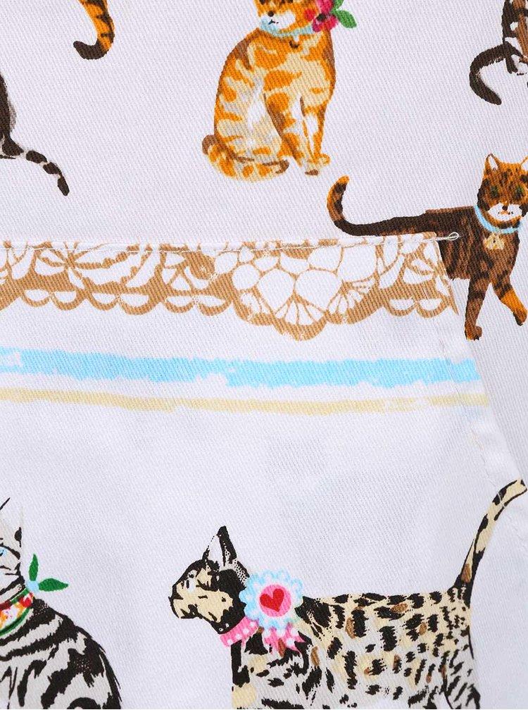 Mentolovo-biela zástera s motívmi mačiek Cooksmart Cats on Parade