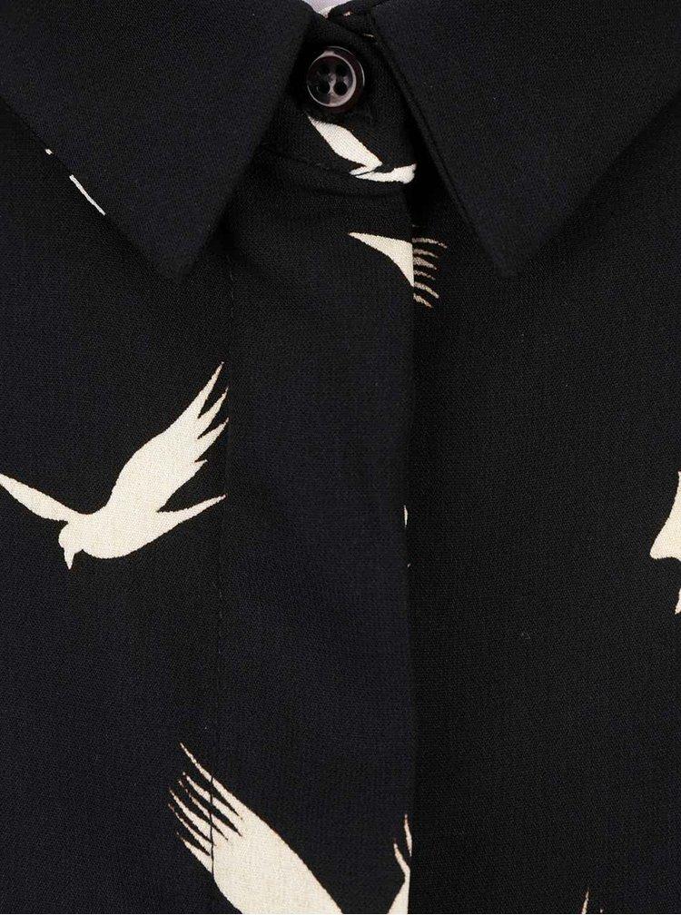 Černá halenka bez rukávů s potiskem ptáčků Alchymi Marble